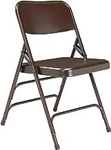 (4 Pack) NPS 300 Series Deluxe All-Steel Triple Brace Double Hinge Folding Chair, Brown