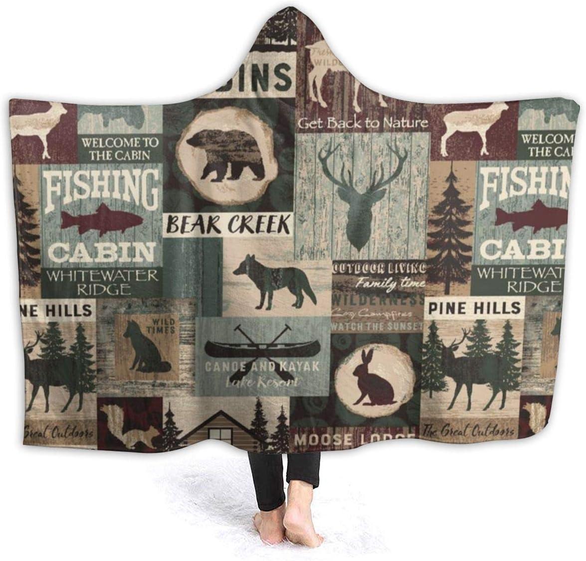 Hooded Flannel Blanket Moose Philadelphia Mall Lodge Cabin 2021 new Bear Vintage Ultr Creek
