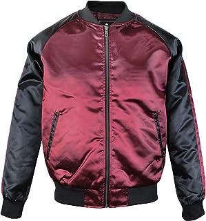 メンズ ジャケット スカジャン ブルゾン 無地 シンプル 光沢 ストリート カジュアル ファッション UPSCALE
