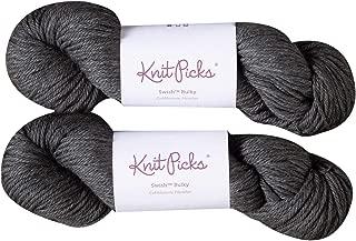 Knit Picks Swish Bulky Merino Wool Yarn - 2 Pack with Free Pattern (Cobblestone Heather)