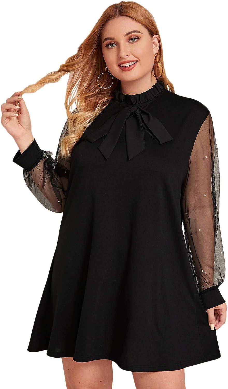 Milumia Women's Elegant Plus Size Tied Neck Mesh Sheer Long Sleeve Pearls Trim Tunic Party Cocktail Dress