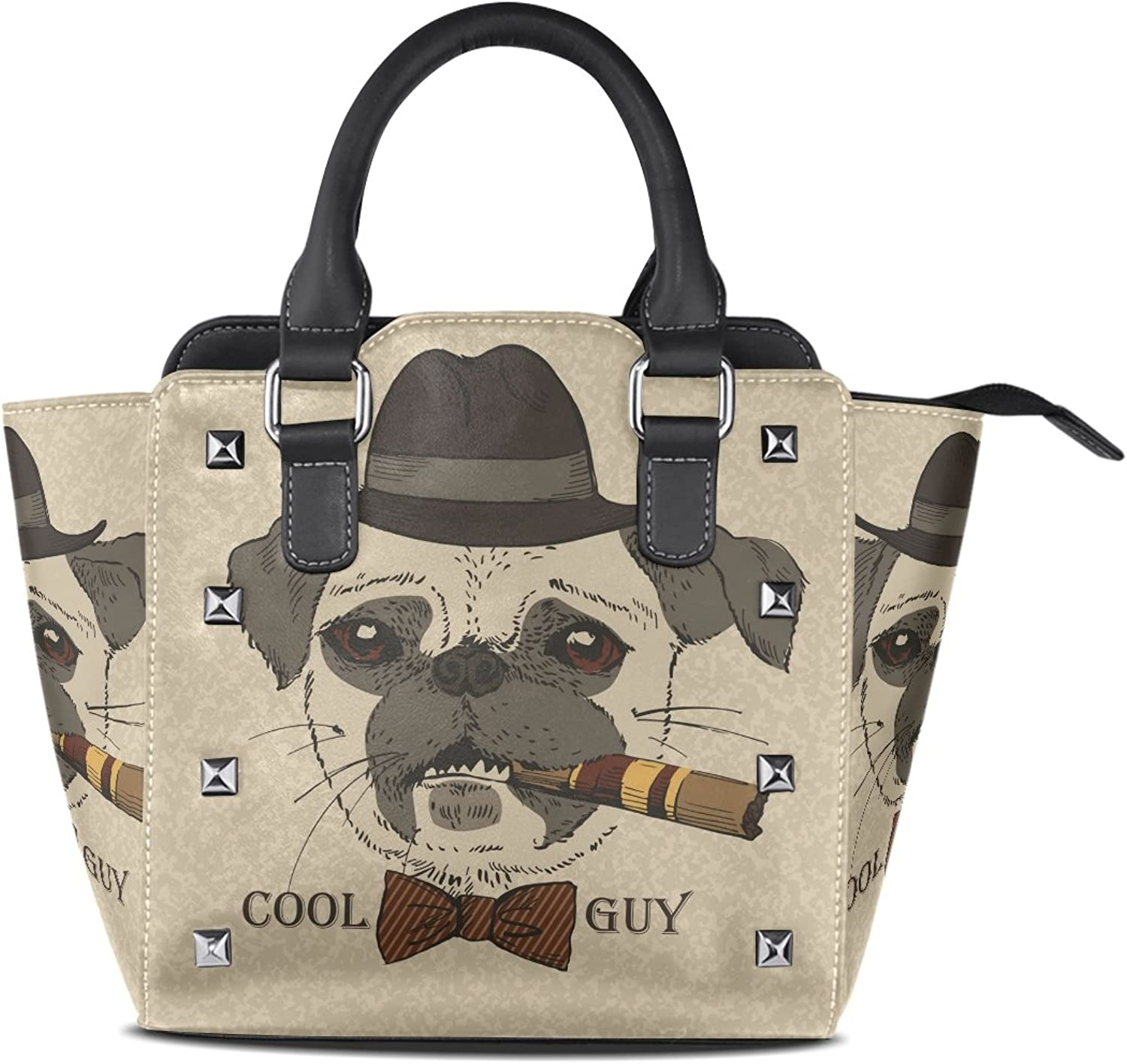 Sunlome Portrait of Pug Dog with Cigar Cool Guy Gangster Look Print Handbags Women's PU Leather Top-Handle Shoulder Bags