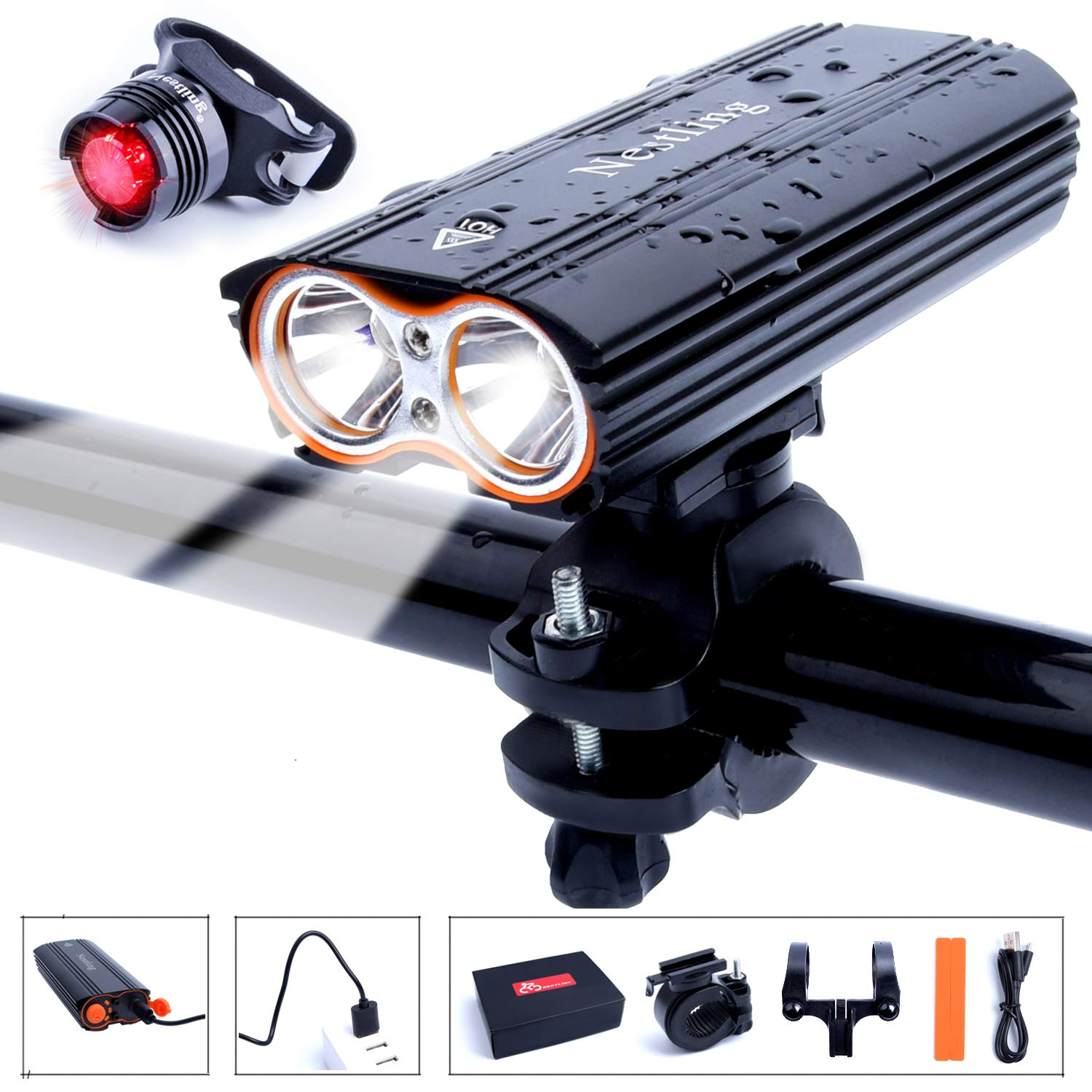 HUAYUU Bike Light Set,USB Rechargeable Bike Light Front 2400LM Mountain Bike Lights IP65 Waterproof Bicycle Headlights 4 Modes Cycle Lights Safety for Night