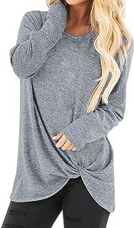 Xmiral Shirt met lange mouwen vrouwen lente tops vrouwen casual zachte O-hals knoop kant twist blouse T-shirt