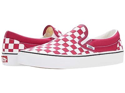 Vans Classic Slip-On ((Checkerboard) Cerise/True White) Skate Shoes