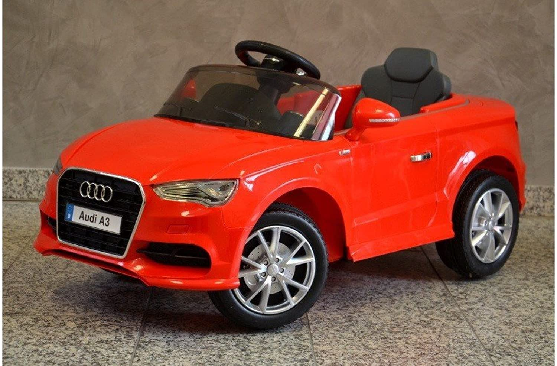 ES-TOYS Kinderfahrzeug - Elektro Auto Audi A3 S-Line - lizenziert - 2X 6V4.5AH Akku, 2 Motoren- 2,4Ghz , mit MP3- rot
