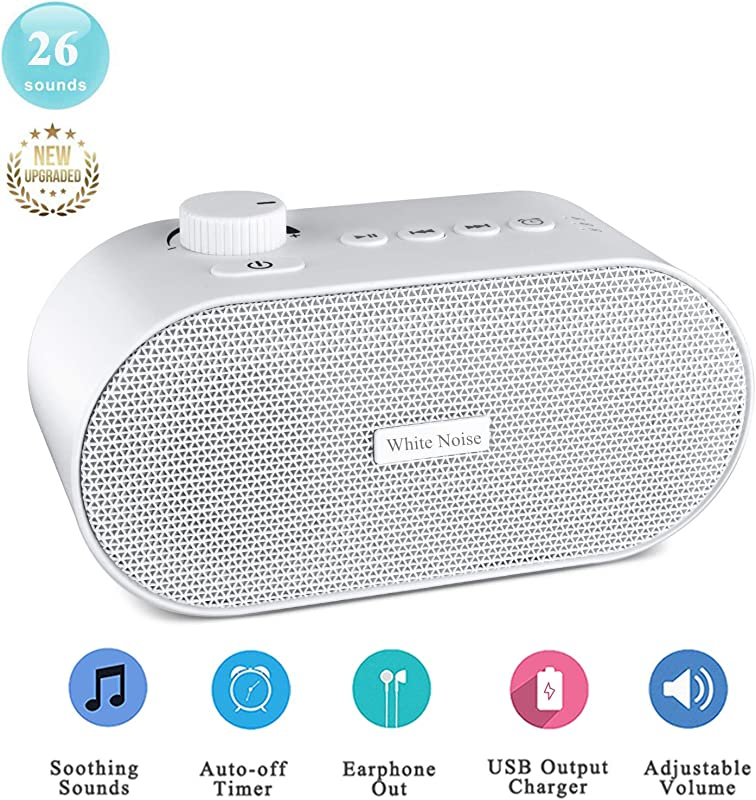 A1 White Noise Machine For Sleeping Portable Sleep Sound Therapy Machine With 26 Non Looping Soothing Sounds USB Output Charger Travel Sleep Auto Off Timer For Baby Kids Adults White White