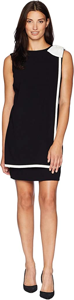 Bow Shoulder Crepe Sheath Dress with Banded Overlay