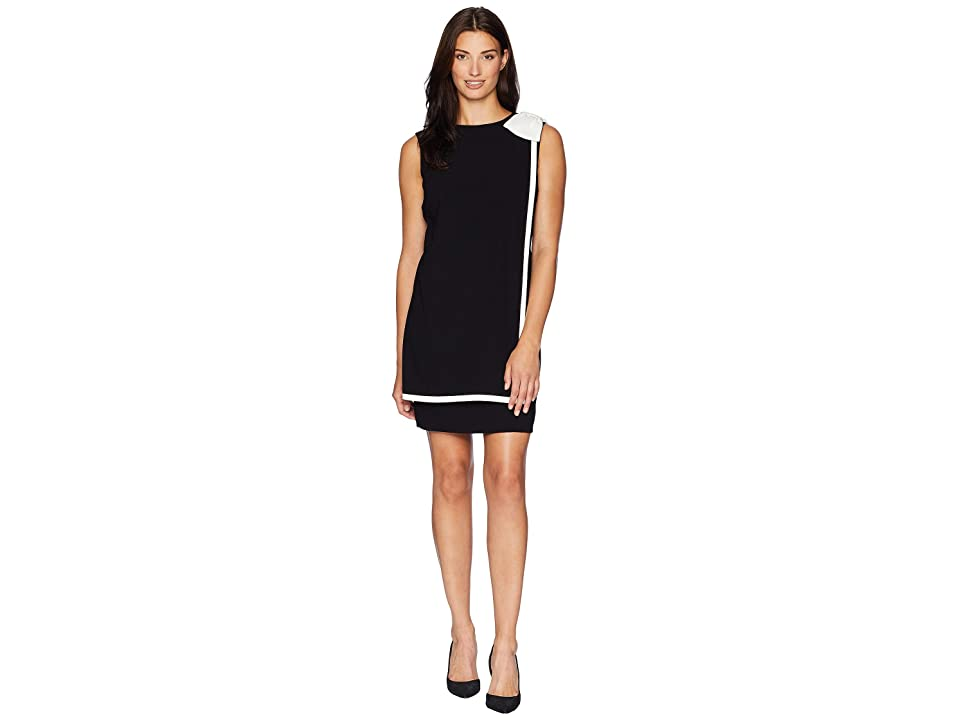 Tahari by ASL Bow Shoulder Crepe Sheath Dress with Banded Overlay (Black/Ivory) Women
