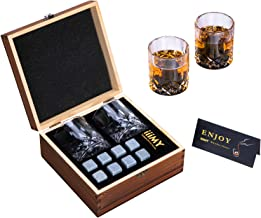 Whisky Stones and Glasses Gift Set, Whisky Rocks Chilling Stones in Handmade Wooden Box– Cool Drinks without Dilution – Wh...