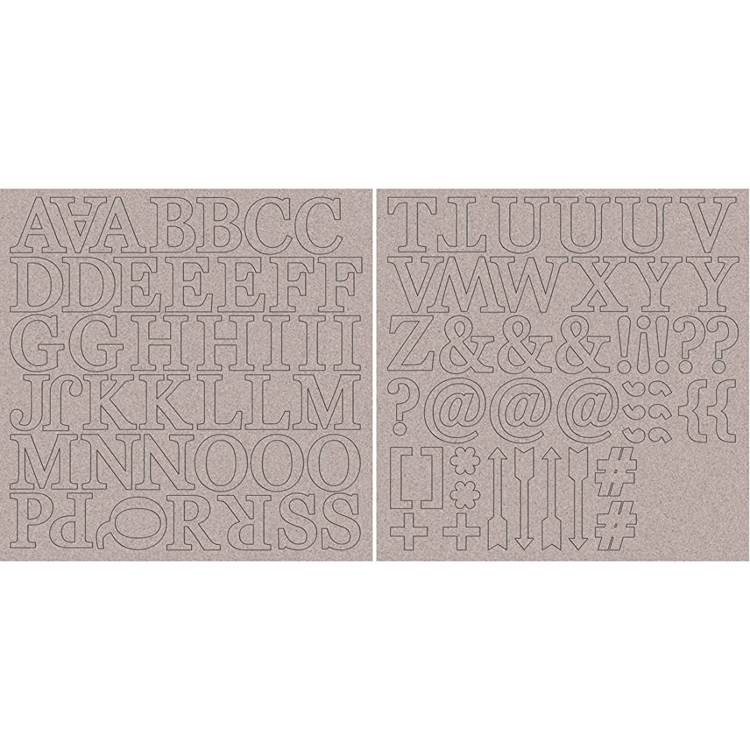 Kaisercraft Chipboard Alphabet Sheets, 12 x 12-Inch, 1.75-Inch Uppercase Letters and Symbols, 2-Pack