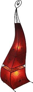 GURU SHOP Lampe au Henné, Lampadaire en Cuir/lampadaire - Mauretania 118 cm, Rouge, Encuir, Couleur : Rouge, Lampes sur Pi...