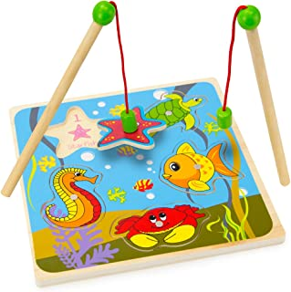 Wooden Wonders Lift & Look Magnetic Fishing Game with 2...