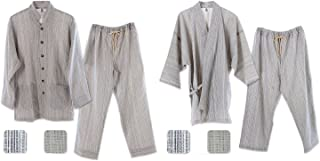 優柔 纏(まとい)いろは織 作務衣&パジャマセット 男女兼用 (S, パジャマ/白紺縦縞+作務衣/白紺縦縞)
