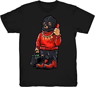 Habanero Red Trap Bear Shirt to Match Foamposite One Habanero Red Sneakers Black t-Shirts