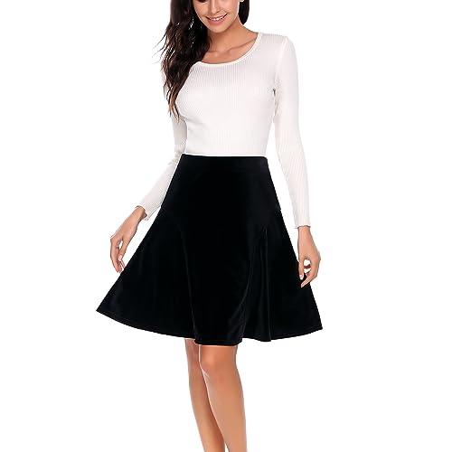 af39c808e821 A-line Pleated High Waist Velvet Midi Skirt Vintage Flare Skirts for Women