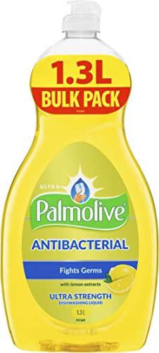 Palmolive Antibacterial Concentrate Dishwashing Liquid Ultra Strength with Lemon Extracts, 1.3L Bulk Pack