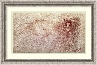 Framed Wall Art Print Sketch of a Roaring Lion by Leonardo da Vinci 26.75 x 18.12