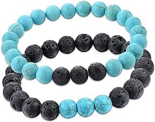 REBUY® Black Lava & Firoza/Turquoise Stone Bracelet for Men and Women