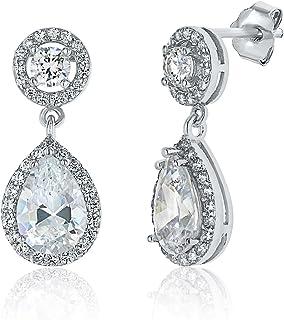 Montage Jewelry Women's Circle & Pear Shape Cubic Zirconia Sterling Silver Dangle Earrings