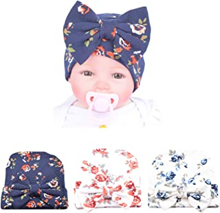 XINSHI Newborn Hat Soft Turban Baby Girl Big Bow Knot Cap