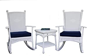 Portside Classic Rocking Chair Set - White Wicker and Navy Cushions