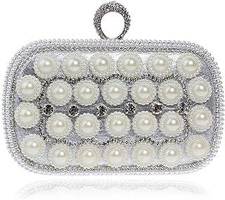 Fine Bag/Ladies Banquet Bag Rhinestones Shiny Clutch Bag Party Bag Banquet Bag (Color : Silver, Size : One Size)