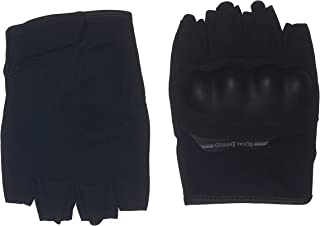 Royal Enfield Black Faux Leather Half Riding Gloves for Men (RRGGLK000056)