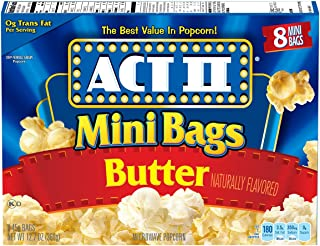 ACT II Butter Microwave Popcorn, 8-Count 1.6-oz. Mini Bags (Pack of 6)