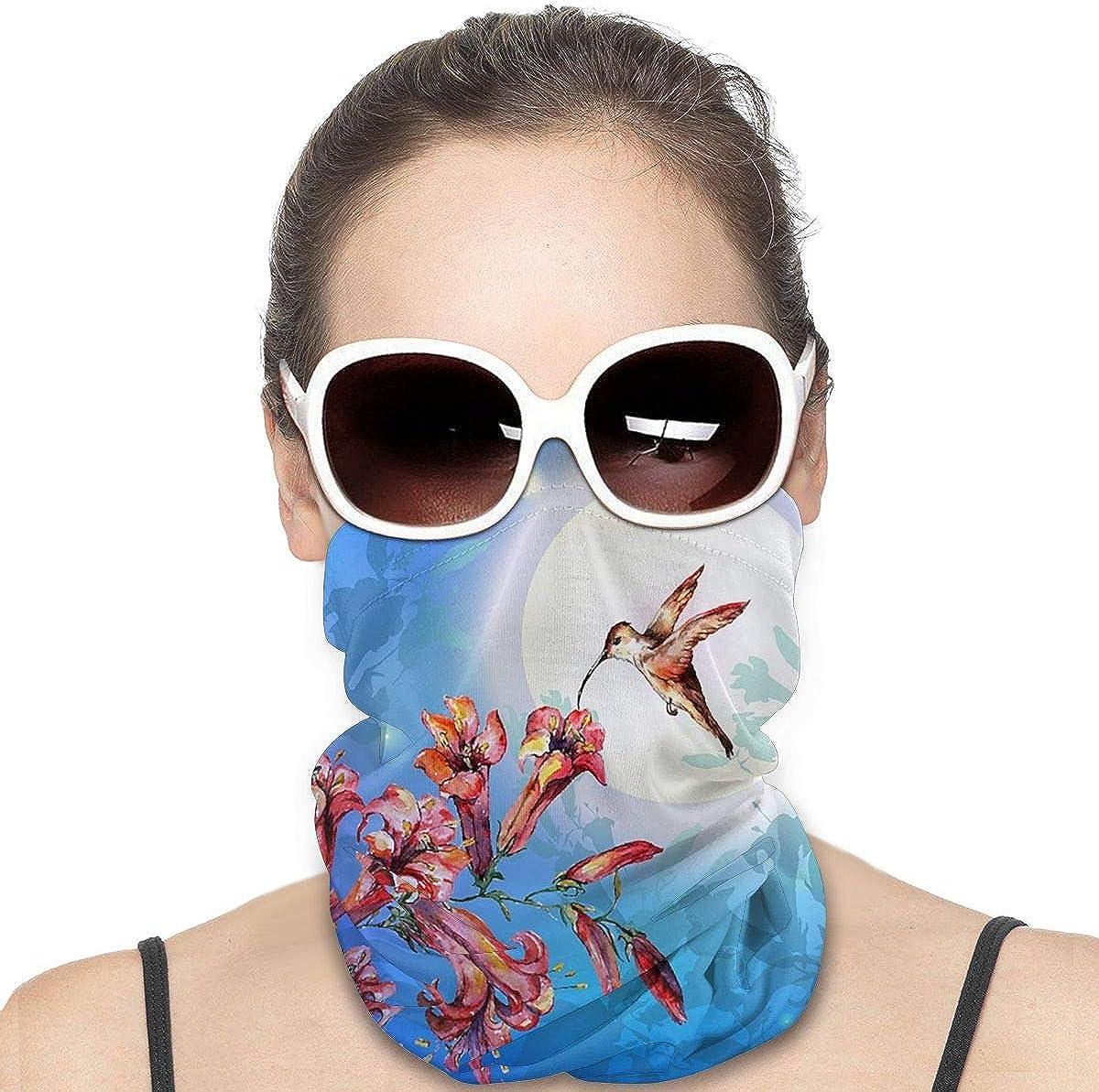 KiuLoam Women Bandanas Face Mask, Vintage Lily Flowers and Hummingbird Neck Gaiter Mask Headband for Men Face Scarf Dust, Outdoors, Sports