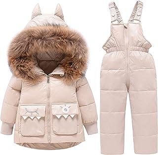 amropi Traje de Nieve Niña Niño Chaqueta con Capucha + Pantalones 2 Piezas Invierno Conjunto de Esquí por 1-5 años