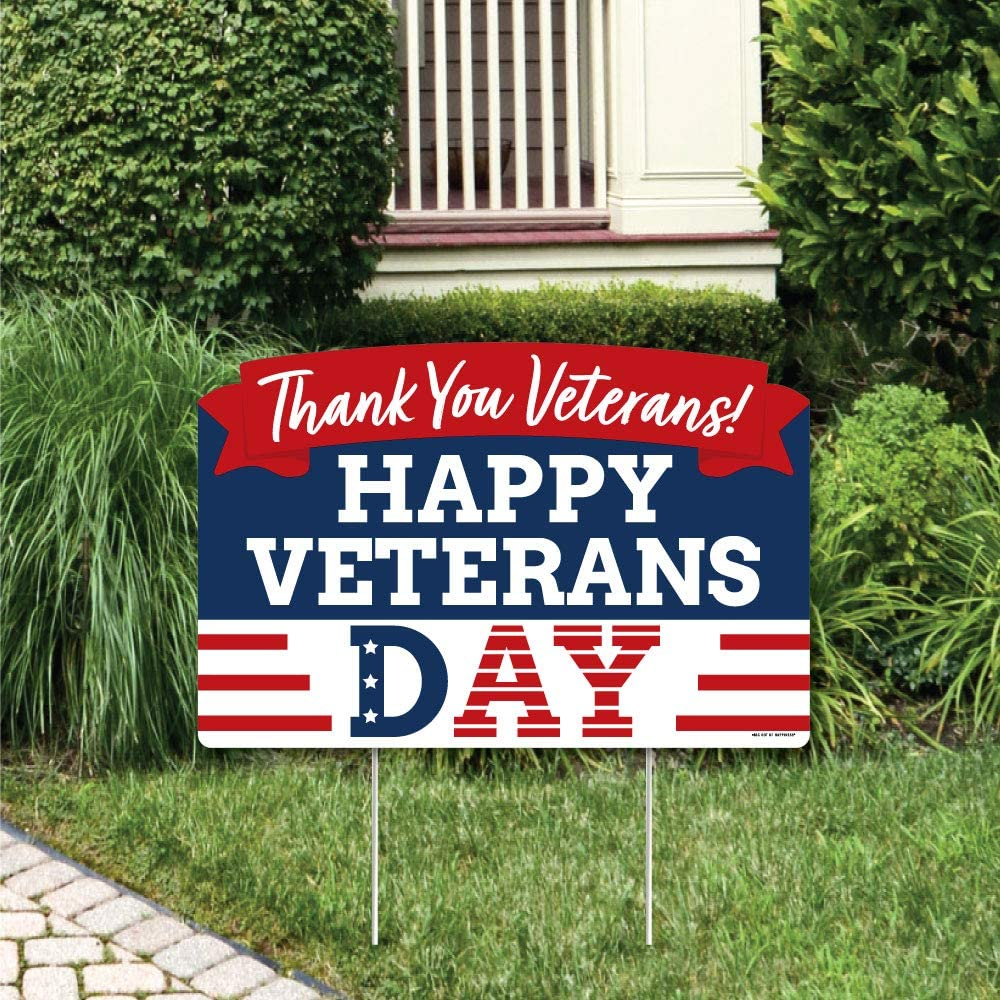 Big Dot of Happiness Happy Veterans La 5% OFF Yard Sign Patriotic Day Oakland Mall -