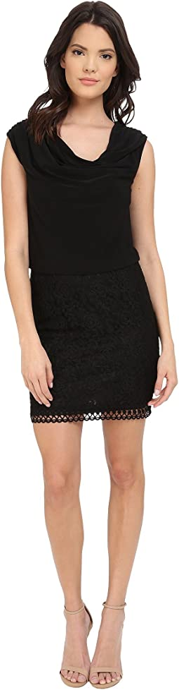Lace and Matte Jersey Sleeveless Blouson