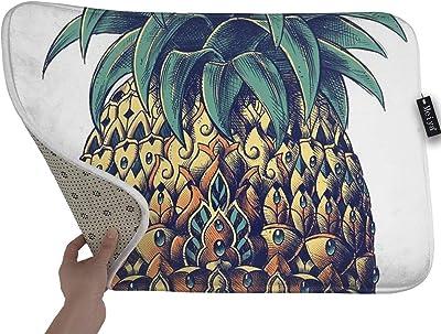 RenHe Lot de 2 Tapis de Cuisine Antid/érapants Tapis Devant Evier Absorbant D/écoratif Paillasson Ensemble de 2 Citron
