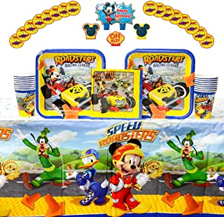 Mickey Roadster Party Supplies Pack for 16 Guests: Stickers, Candles, Dinner Plates, Luncheon Napkins, Table Cover, and Cups
