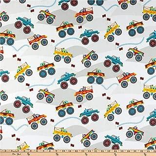 Whistler Studios Monster Truck Monster Truck Champs White Fabric by the Yard