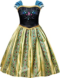 Cotrio Anna Coronation Dress Halloween Costumes Princess Dresses with Accessories (Green)
