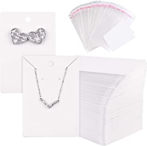 TUPARKA 120 Pack Earring Display Card with 120 Pcs Self-Seal Bags, Necklace Display Cards,Earring Card Holder Blank Kraft Paper Tags for DIY Jewelry Display (White)