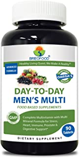 Brieofood Mens Multivitamin 90 Tablets, Food Based Daily Multivitamin for Men Made With Vegetable SOURCE Omegas, Probiotics & Herbal Blends
