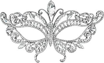 Miallo Bridal Full Rhinestone Crystal Fancy Masquerade Eye Mask for Halloween