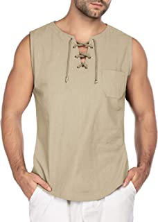 COOFANDY Mens Fashion T Shirt Cotton Tee Hippie Shirts Sleeveless Yoga Top