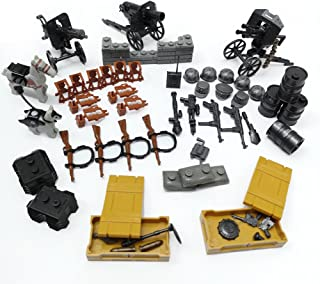 World War 2 WW2 German Assault Military Weapons and Accessories Set Compatible Major Brands, Gun Weapons, Ammunition,War Horse,Tools, Military Building Blocks Toy