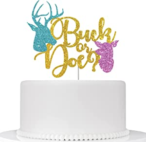 Buck or Doe Cake Topper, Gender Reveal Party Decor, Boy or Girl Cake Decor, Baby Shower Party Supplies - Gold & Blue & Pink Glitter