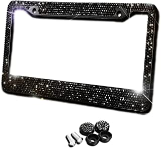 Zento Deals Black Sparkling Rhinestone Glitter Mixed Crystal Bling Stainless Steel License Plate Frame-All Weather-Proof Super Adhesive Black Rhinestone