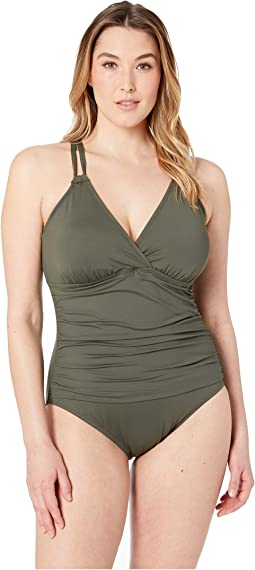 Plus Size Surplice Underwire One-Piece