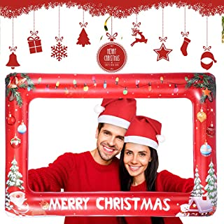 Auihiay Large Size Inflatable Christmas Photo Booth Frame with 2 Christmas Hat for Christmas New Year Party(33.8 x 22 Inch)