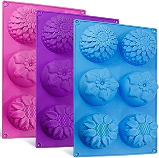 6-Cavity Silicone Flower Shape Cake Molds, SENHAI 3 Packs Fondant Rose Shape Decorating Ice Cube Trays for Homemade Cake C...