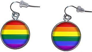 Orecchini pendenti in acciaio inossidabile, diametro 20 mm, fatto a mano, illustrazione Bandiera arcobaleno