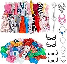 32 PCS Doll Accessories, 10x Mix Cute Dresses, 10x Shoes, 4x Glasses, 6x Necklaces, 2x Fairy Sticks Dress Clothes For Barbie Doll