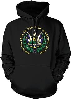 Amdesco Men`s El Salvador Coat of Arms Hooded Sweatshirt